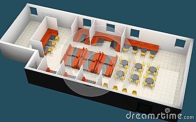 Kafe sketch 3d rendering