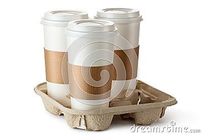 Kaffe för tre take-ut i hållare
