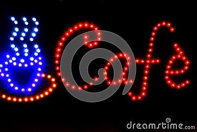Kaffeeabbildung und -wort durch LED-Leuchte
