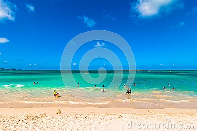 Kailua Beach in Oahu, Hawaii Editorial Photo