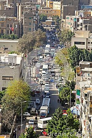 Kairo-Straße Redaktionelles Stockfotografie