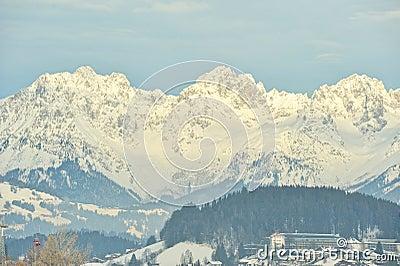 Kaiser mountain peak in Alps