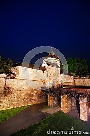 Free Kaiserburg Wall And Bridge At Night In Nuremberg Stock Images - 54219164