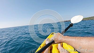 Kajak im Mittelmeer stock video footage