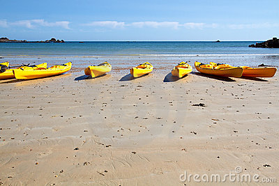 Kajaks at St. Brelade s Bay, Jersey, UK