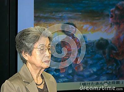 Kajimoto Yoshiko nuclear bomb survivor Editorial Stock Image