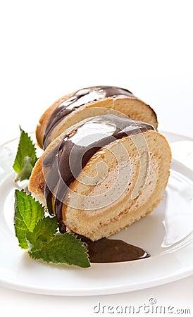 Kaka för schweizisk rulle för choklad
