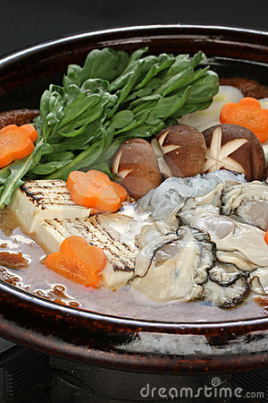 Kaki dotenabe , oyster cooked in a pot
