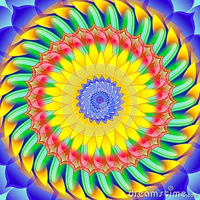 Kaleidoscopic spinning  sacred circle mandala