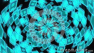 Kaleidoskop der Leuchten die Kristalle und Blütenblätter bilden schöne Blumen 3D-Rendering-Computer-Technologie stock video footage
