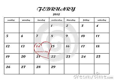 Kalendarzowego dzień szczegółu strony valentine