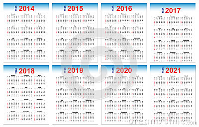 Kalender 2014-2021 Stockfotos - Bild: 32840923