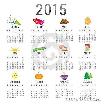 kalender karikatur netter gegenstand vektor 2015 vektor abbildung bild 47573661. Black Bedroom Furniture Sets. Home Design Ideas
