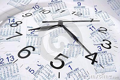 Kalender-Seiten und Borduhr