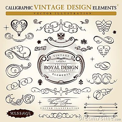 Kalligrafisch uitstekend ornament Vectorframe