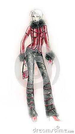 Kallt väder för modeillustrationdräkt