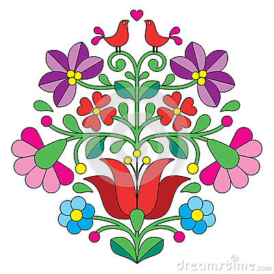 Free Kalocsai Embroidery - Hungarian Floral Folk Pattern With Birds Stock Image - 51954811