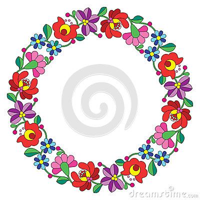 Free Kalocsai Embroidery In Circle - Hungarian Floral Folk Pattern Stock Images - 51322504