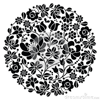 Free Kalocsai Folk Art Embroidery - Black Hungarian Round Floral Folk Pattern Royalty Free Stock Photography - 68465547