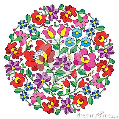 Free Kalocsai Folk Art Embroidery - Hungarian Round Floral Folk Pattern Stock Photos - 67090603