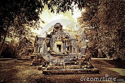 Kambodjanen fördärvar tempelet
