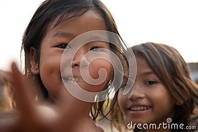 Kambodjanska flickor Redaktionell Arkivfoto