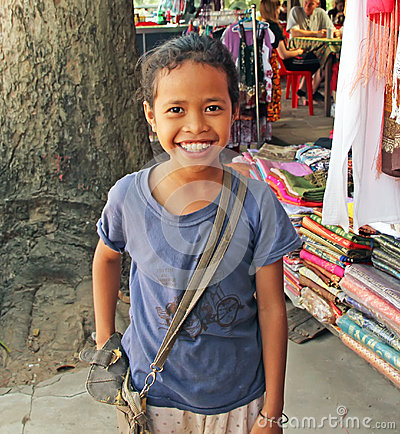 Kambodjanskt barn Redaktionell Arkivbild