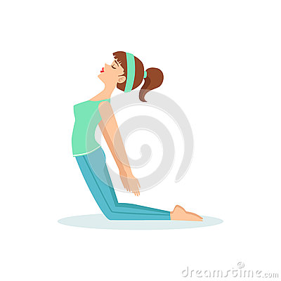 Kamel Ustrasana-Yoga-Haltung Demonstriert Vom Mädchen-Karikatur ...