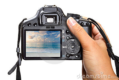 Kamera der Holding DSLR