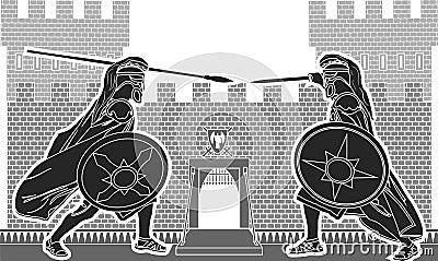 Kampf von zwei Rittern