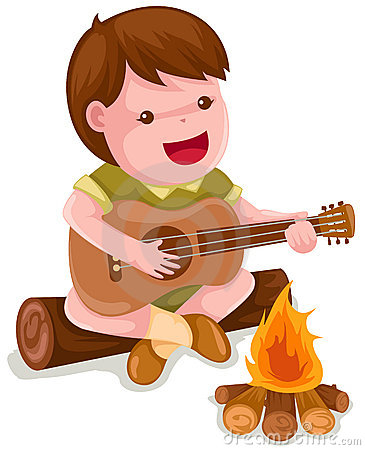 Kierender junge der gitarre spielt lizenzfreie stockbilder