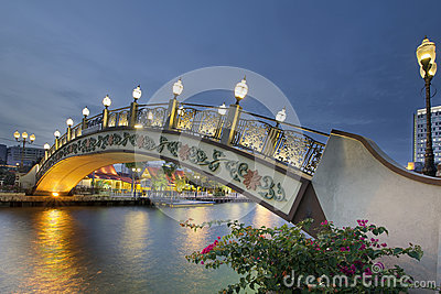 Kampung Morten Bridge Over Melaka River Waterfront at Blue Hour