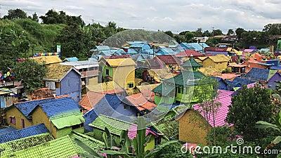Kampung Warna in Malang, Indonesia.  stock video
