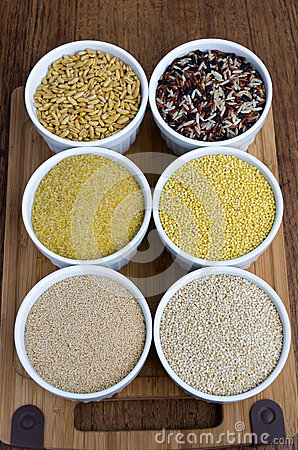 Kamut, Rice Mix, Fine Bulgur, Millet, Amaranth, Quinoa (from left to right, from top to bottom)