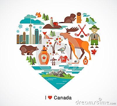 Kanada förälskelse - hjärta med många symboler och illustrationer