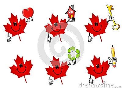 Kanadische Ahornblatt-Karikaturen
