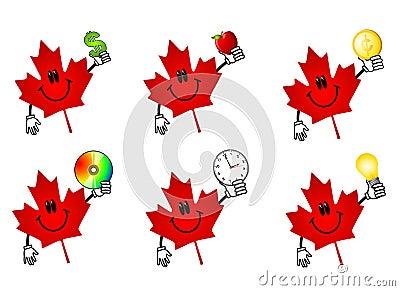 Kanadyjski kreskówka klonów liściach