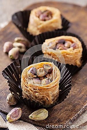 Kanafeh cheese pastry Stock Photo