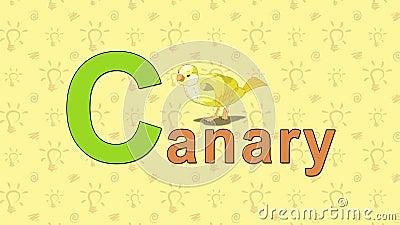 kanarek Angielski zoo abecadło - listowy C ilustracja wektor