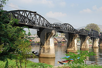 Kanchanaburi, Thailand: Bridge on River Kwai Editorial Photography