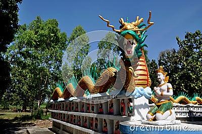 Kanchanaburi, Thailand: Dragon at Temple