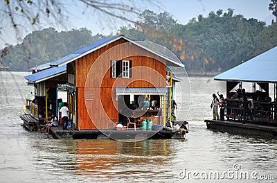 Kanchanaburi, Thailand: River Kwai Houseboats Editorial Stock Image