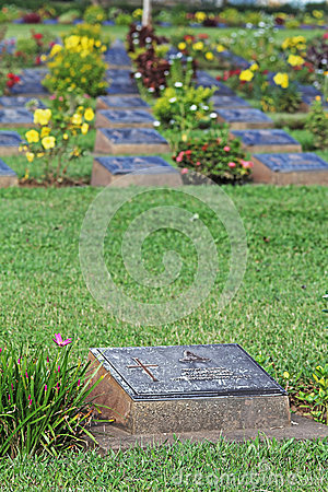 KANCHANABURI WAR CEMETERY This is the Wa Editorial Photography