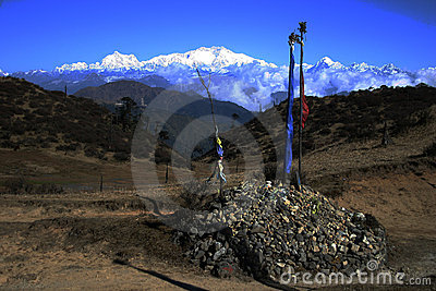 Kanchenjunga and prayer flags northeast India