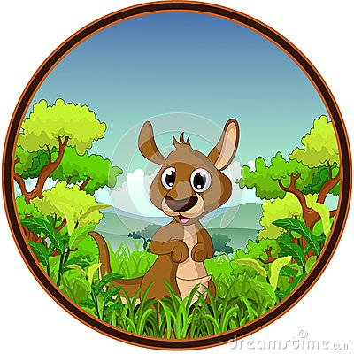 Kangaroo with forest background