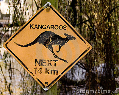 Kangaroo sign Editorial Image