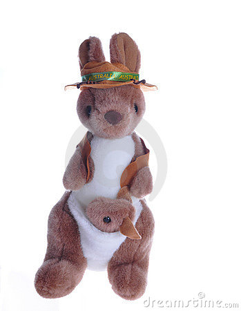 Kangaroo teddy with baby