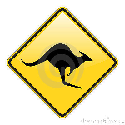 Kangaroo warning sign