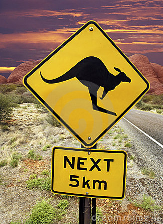 Kangaroo Warning Sign - Australian Outback