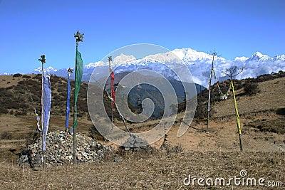 Kangchenjunga and prayer flags northeast India